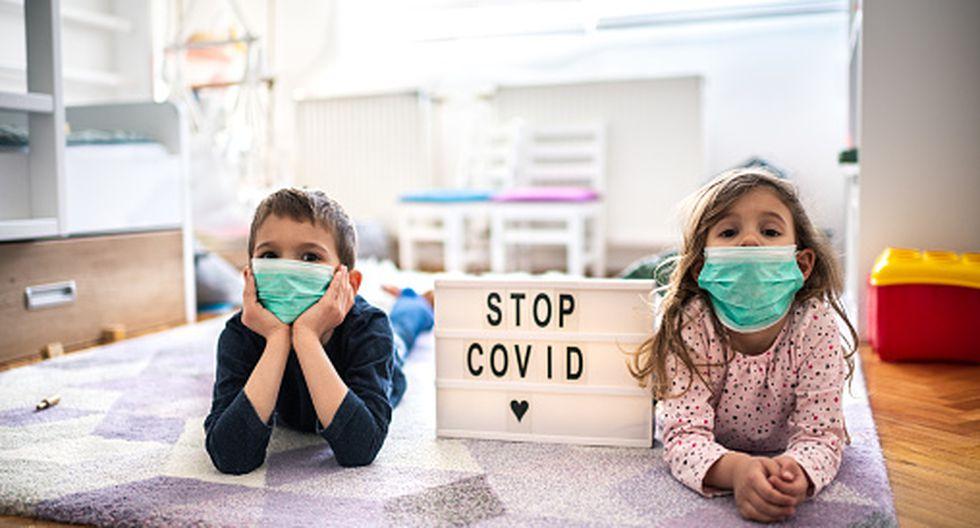 covid-19: imagen de dos niños con mascarilla.