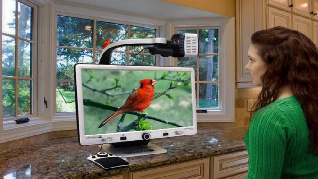 imagen de una mujer usando DaVinci Pro HD para ver un pájaro