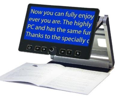 imagen del ampliador de pantalla VisioBook mostrando texto ampliado en la pantalla