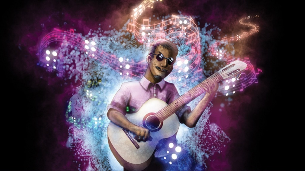 músicos ciegos: imagen de un músico ciego tocando la guitarra