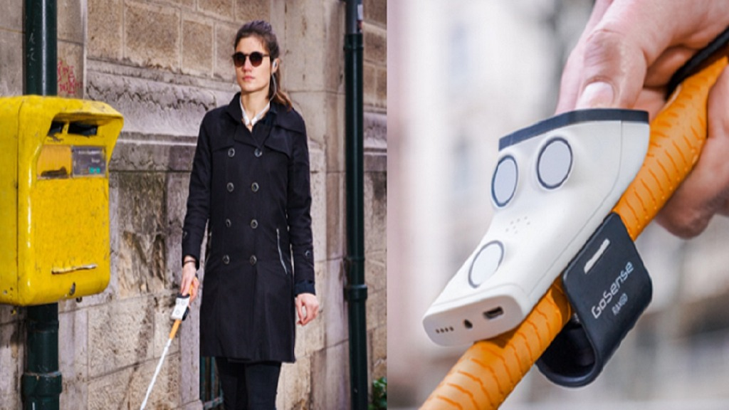 rango y noor: imagen de una persona ciega usando un bastón equipado con el dispositivo rango