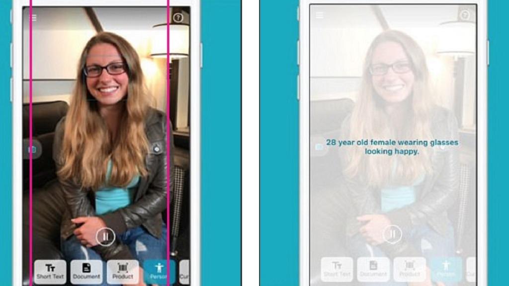 imagen de una pantalla de móvil mostrando una de las funcionalidades de la app seeing ai de microsoft