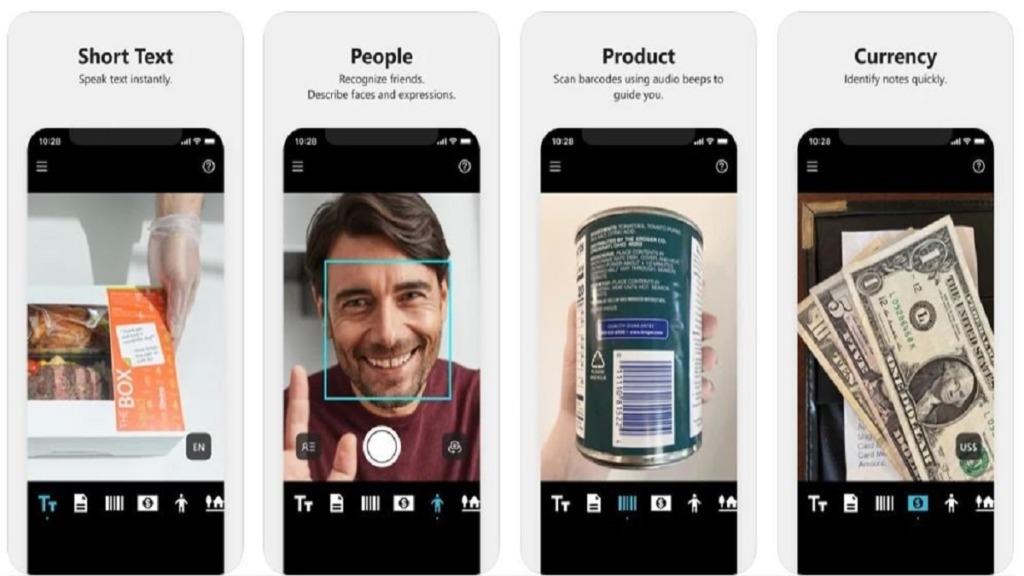 imagen de una pantalla de móvil mostrando las diferentes funcionalidades de la app seeing ai