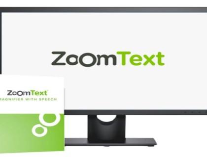 imagen de una pantalla de ordenador y la caja del programa zoomtext