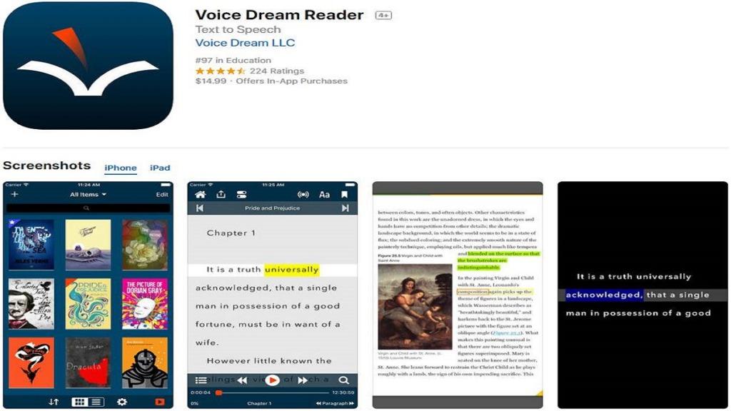 aplicación voice dream reader: imagen de capturas de pantalla del uso de la aplicación