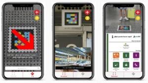 aplicación navilens: imagen de pantallas de móvil mostrando diferentes usos de la aplicación