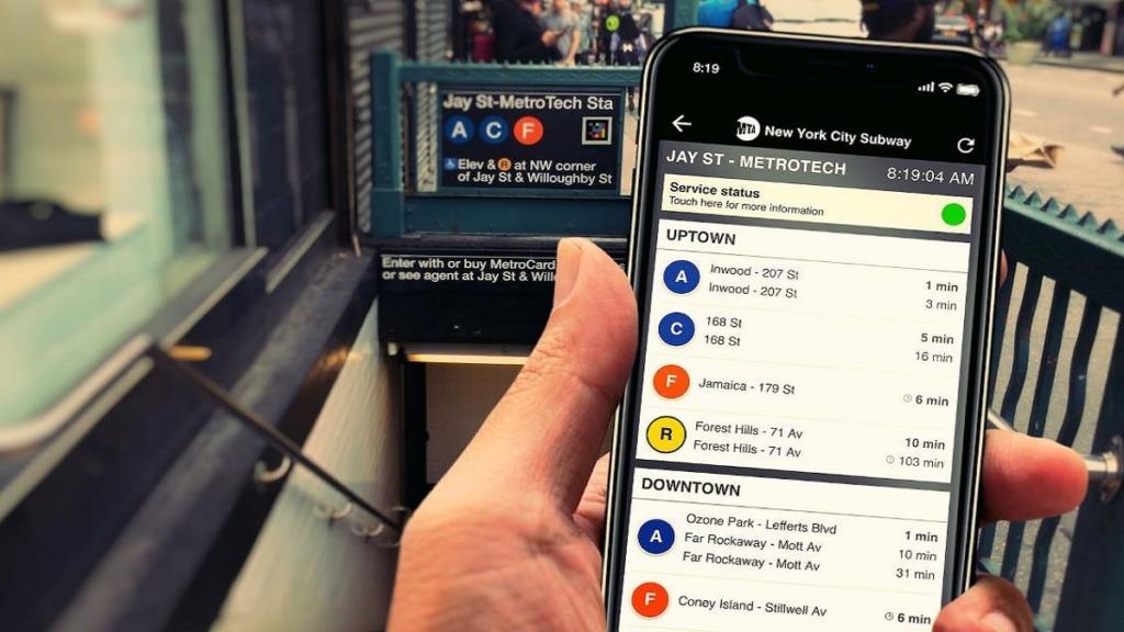 aplicación navilens: imagen de una pantalla de móvil mostrando información del metro de Nueva York