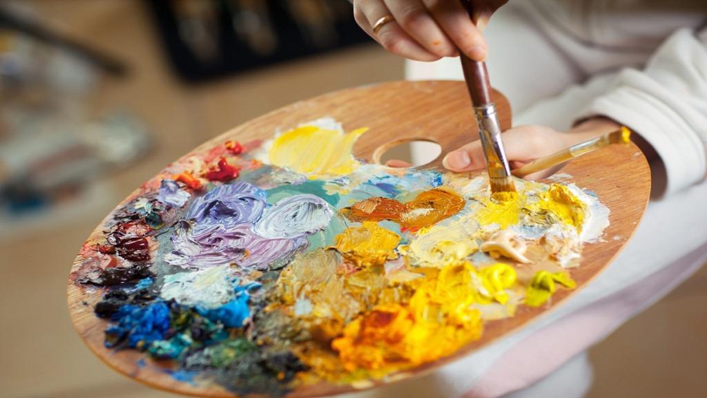 pintores ciegos: imagen de una paleta de colores al óleo