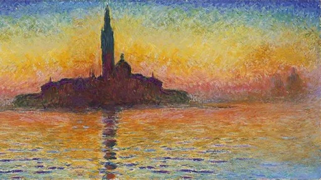 pintores ciegos: imagen de la obra del pintor claude monet crepúsculo en venecia