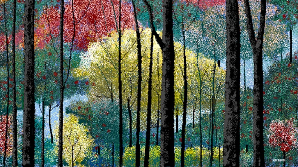 pintores ciegos: imagen de la obra del pintor hal lasko mirando hacia arriba