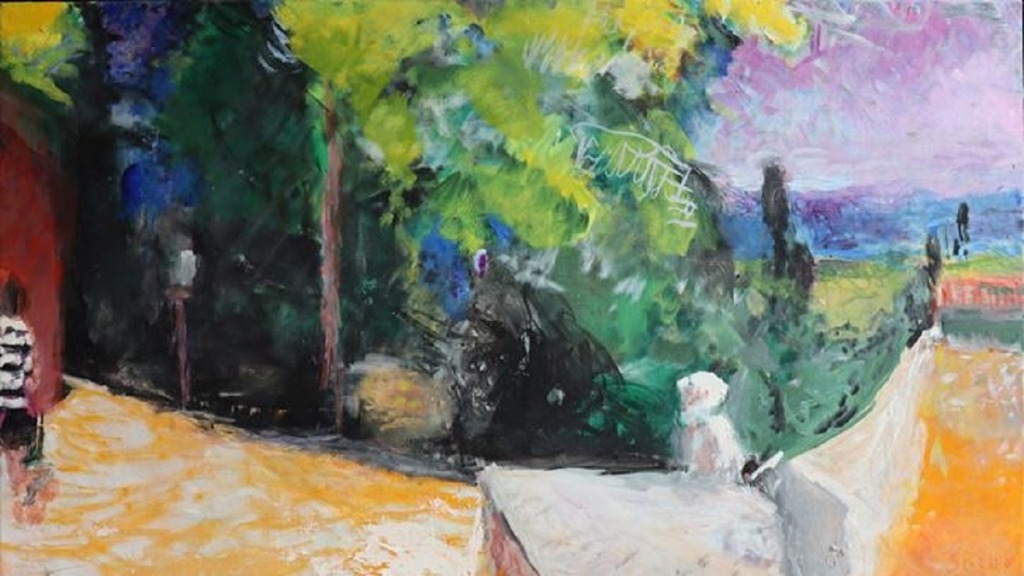pintores ciegos: imagen de la obra del pintor sargy mann camino hacia la casa de maría