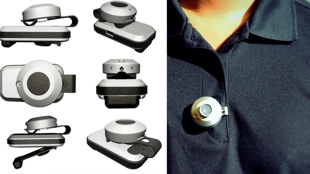 dispositivo buzzclip: imagen del dispositivo desde varias perspectivas