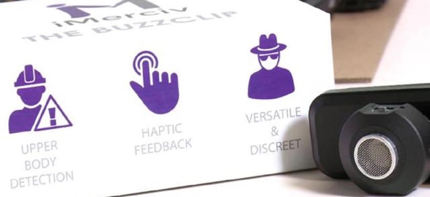 dispositivo buzzclip: imagen del dispositivo y la caja en la que viene