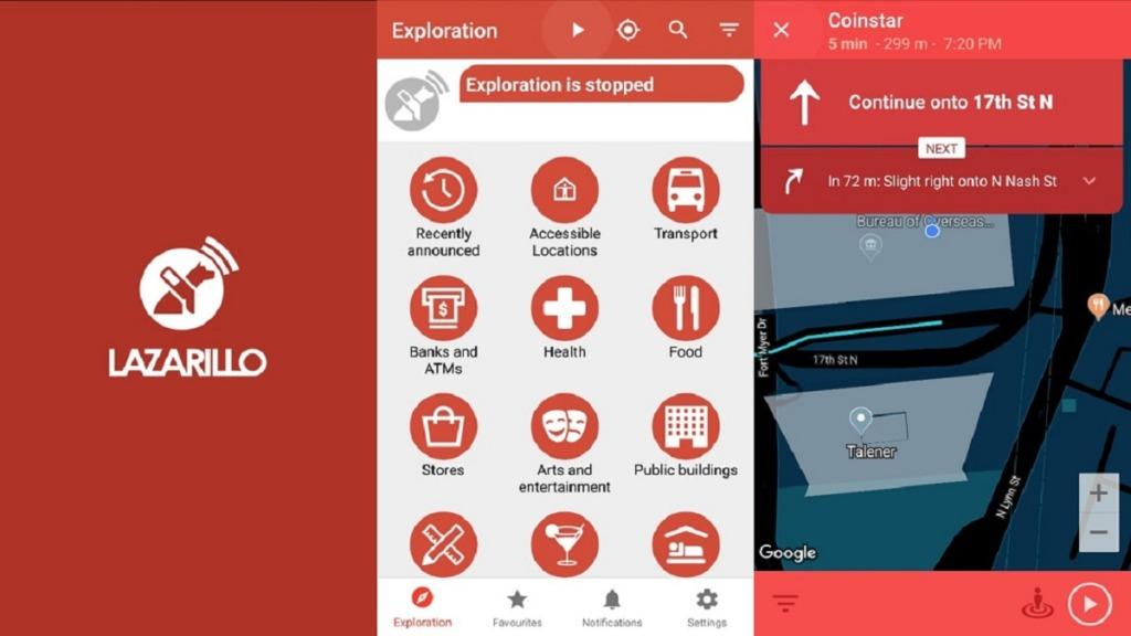 aplicación lazarillo: imagen de una captura de pantalla de la aplicación