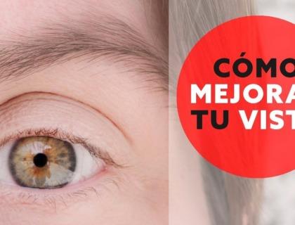 """mejorar la vista: imagen de un ojo acompañado del eslogan """"cómo mejorar tu vista"""""""