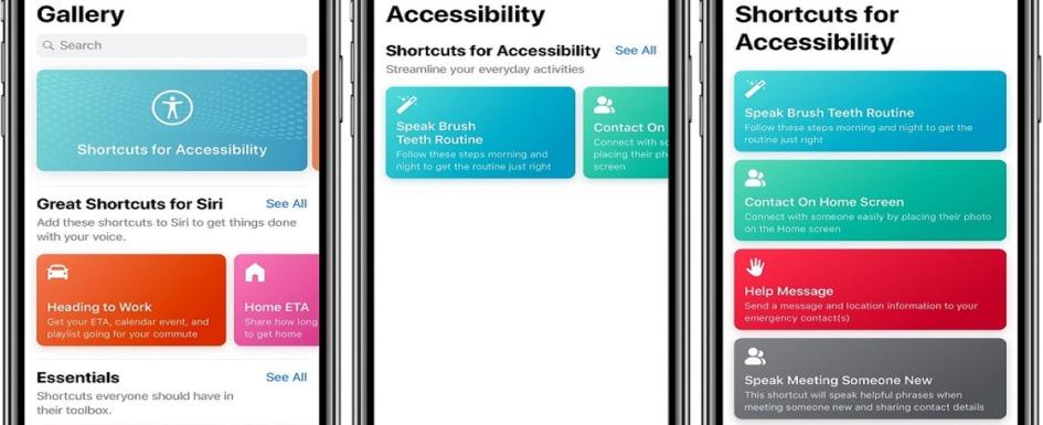 accesibilidad integrada apple: imagen de pantallas de iphone mostrando opciones de accesibilidad
