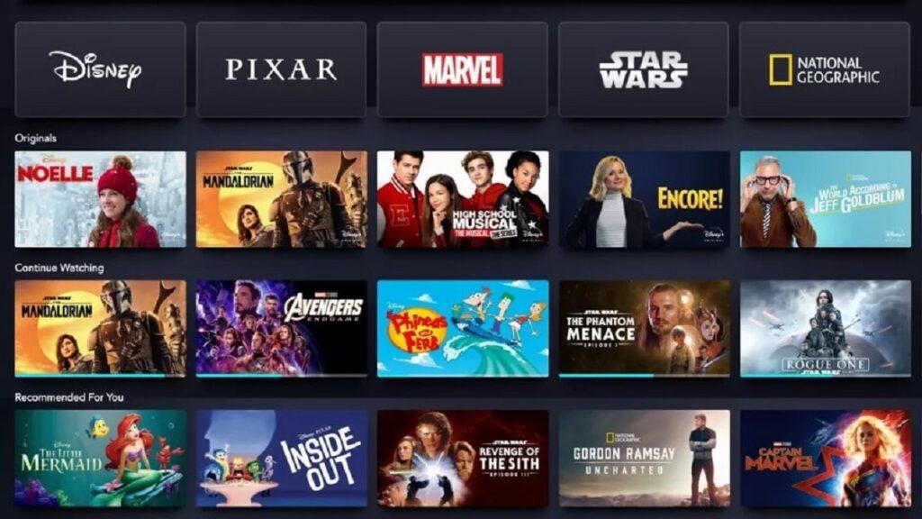 accesibilidad de plataformas de streaming: imagen de la oferta de contenidos de Disney+