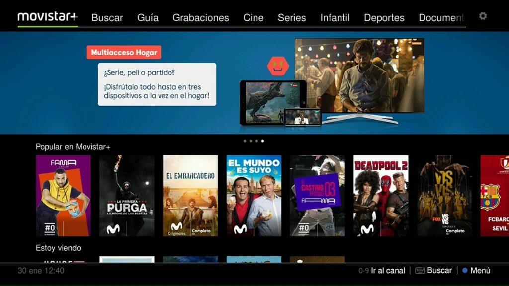 accesibilidad de plataformas de streaming: imagen de la oferta de contenidos de Movistar+