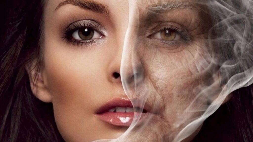 salud ocular: imagen de una persona fumando con humo afectándole a los ojos