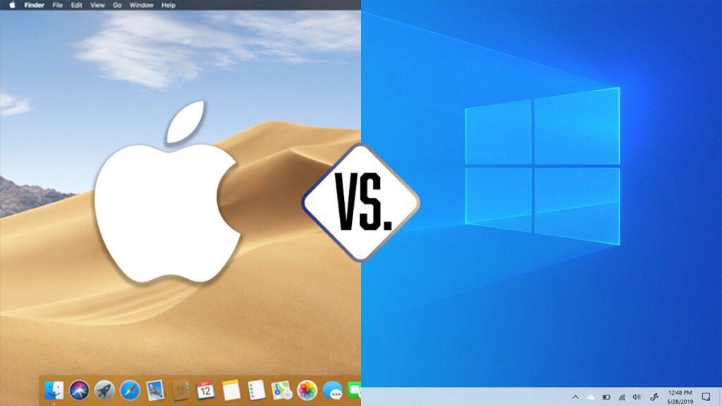 windows o apple: imagen de los logos de los dos sistemas operativos