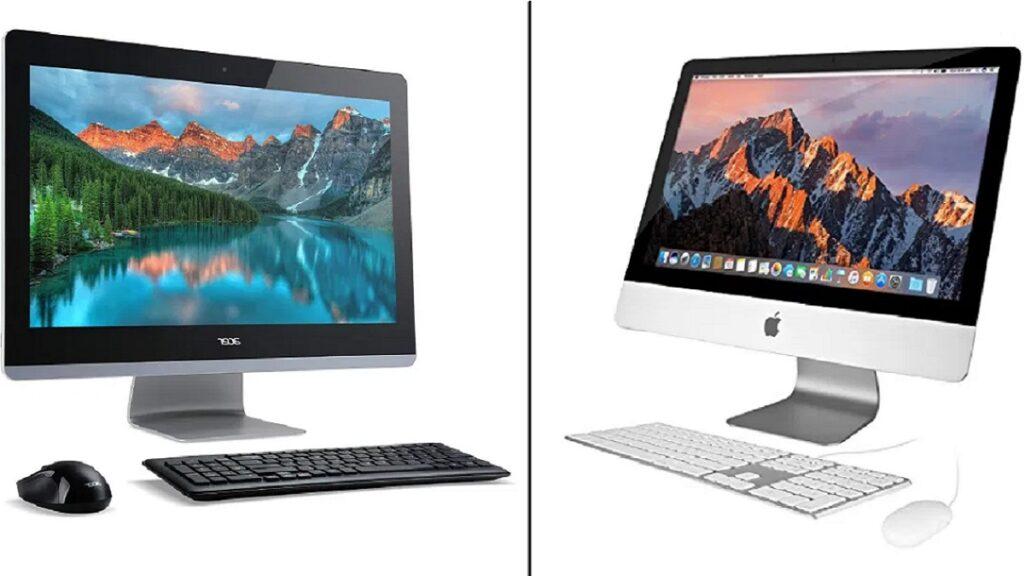 windows o apple: imagen de un imac y un pc