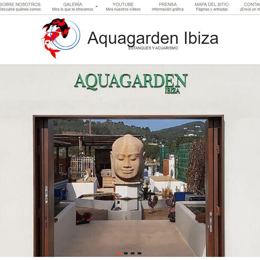 imagen de la página de inicio de Aquagarden Ibiza.